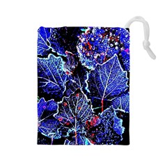 Blue Leaves In Morning Dew Drawstring Pouches (large)