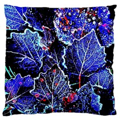 Blue Leaves In Morning Dew Large Flano Cushion Case (two Sides)