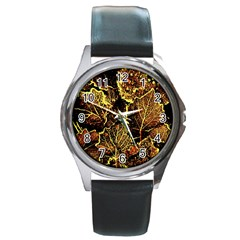 Leaves In Morning Dew,yellow Brown,red, Round Metal Watch by Costasonlineshop