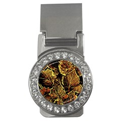Leaves In Morning Dew,yellow Brown,red, Money Clips (cz)
