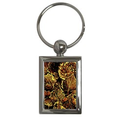 Leaves In Morning Dew,yellow Brown,red, Key Chains (rectangle)