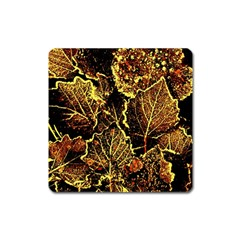 Leaves In Morning Dew,yellow Brown,red, Square Magnet