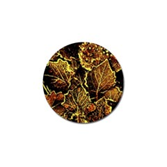 Leaves In Morning Dew,yellow Brown,red, Golf Ball Marker by Costasonlineshop