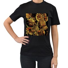 Leaves In Morning Dew,yellow Brown,red, Women s T Shirt (black) (two Sided)