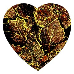 Leaves In Morning Dew,yellow Brown,red, Jigsaw Puzzle (heart) by Costasonlineshop