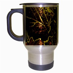 Leaves In Morning Dew,yellow Brown,red, Travel Mug (silver Gray) by Costasonlineshop