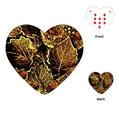 Leaves In Morning Dew,yellow Brown,red, Playing Cards (heart)