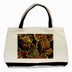 Leaves In Morning Dew,yellow Brown,red, Basic Tote Bag