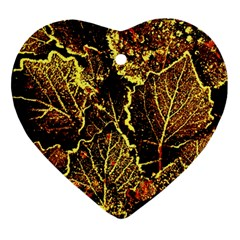Leaves In Morning Dew,yellow Brown,red, Heart Ornament (2 Sides)