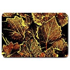 Leaves In Morning Dew,yellow Brown,red, Large Doormat