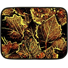 Leaves In Morning Dew,yellow Brown,red, Double Sided Fleece Blanket (mini)