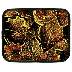 Leaves In Morning Dew,yellow Brown,red, Netbook Case (xxl)  by Costasonlineshop