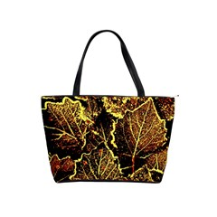 Leaves In Morning Dew,yellow Brown,red, Shoulder Handbags