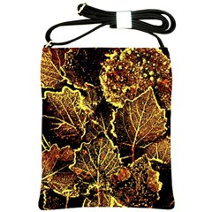 Leaves In Morning Dew,yellow Brown,red, Shoulder Sling Bags