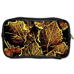 Leaves In Morning Dew,yellow Brown,red, Toiletries Bags 2 Side