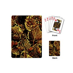 Leaves In Morning Dew,yellow Brown,red, Playing Cards (mini)  by Costasonlineshop
