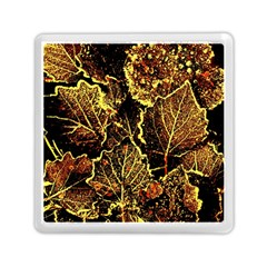 Leaves In Morning Dew,yellow Brown,red, Memory Card Reader (square)