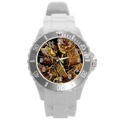 Leaves In Morning Dew,yellow Brown,red, Round Plastic Sport Watch (l)