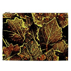 Leaves In Morning Dew,yellow Brown,red, Cosmetic Bag (xxl)  by Costasonlineshop