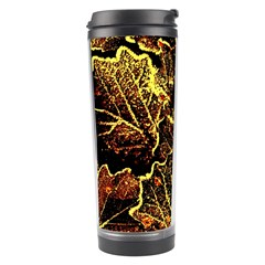 Leaves In Morning Dew,yellow Brown,red, Travel Tumbler by Costasonlineshop