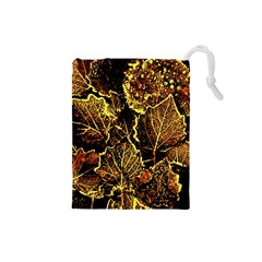 Leaves In Morning Dew,yellow Brown,red, Drawstring Pouches (small)