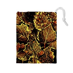 Leaves In Morning Dew,yellow Brown,red, Drawstring Pouches (large)
