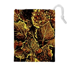 Leaves In Morning Dew,yellow Brown,red, Drawstring Pouches (extra Large)