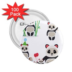Panda Cute Animals 2 25  Buttons (100 Pack)