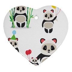 Panda Cute Animals Heart Ornament (2 Sides) by AnjaniArt