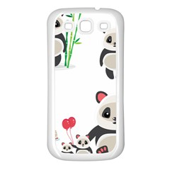 Panda Cute Animals Samsung Galaxy S3 Back Case (white) by AnjaniArt