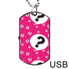 Question Mark Red Sign Dog Tag Usb Flash (two Sides)  by AnjaniArt