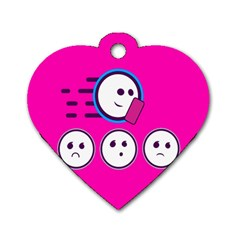 Run Face Pink Dog Tag Heart (two Sides)