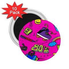 Smile Cute Face Purple 2 25  Magnets (10 Pack)