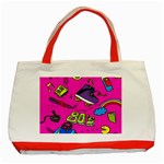 Smile Cute Face Purple Classic Tote Bag (Red) Front