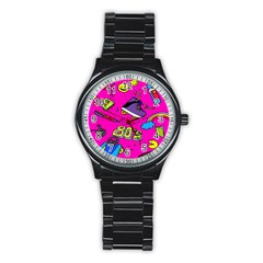 Smile Cute Face Purple Stainless Steel Round Watch