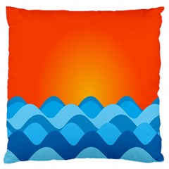 Water Orange Large Flano Cushion Case (one Side) by AnjaniArt