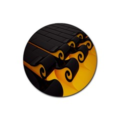 Tsunami Roll Sea Wave Rubber Coaster (round)  by AnjaniArt
