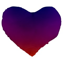 Purple Orange Blue Large 19  Premium Heart Shape Cushions