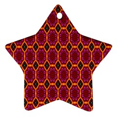 Pink Green Yellow Flower Star Ornament (two Sides)