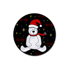 Polar Bear   Xmas Design Rubber Round Coaster (4 Pack)  by Valentinaart