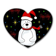 Polar Bear   Xmas Design Heart Mousepads by Valentinaart