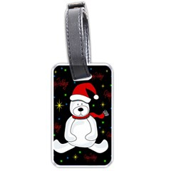 Polar Bear   Xmas Design Luggage Tags (one Side)  by Valentinaart