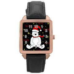 Polar Bear   Xmas Design Rose Gold Leather Watch  by Valentinaart