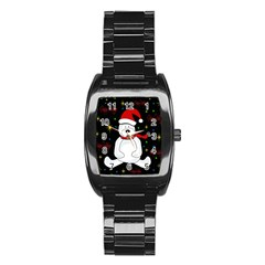Polar Bear   Xmas Design Stainless Steel Barrel Watch by Valentinaart