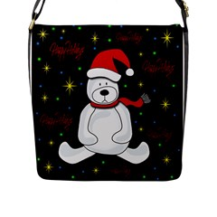 Polar Bear   Xmas Design Flap Messenger Bag (l)  by Valentinaart