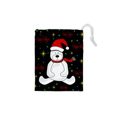 Polar Bear   Xmas Design Drawstring Pouches (xs)  by Valentinaart
