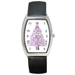 Elegant Starry Christmas Pink Metallic Look Barrel Style Metal Watch by yoursparklingshop