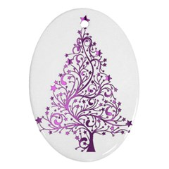 Elegant Starry Christmas Pink Metallic Look Oval Ornament (two Sides)