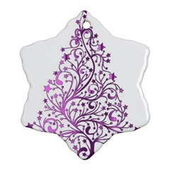 Elegant Starry Christmas Pink Metallic Look Snowflake Ornament (2 Side) by yoursparklingshop