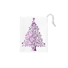 Elegant Starry Christmas Pink Metallic Look Drawstring Pouches (xs)  by yoursparklingshop
